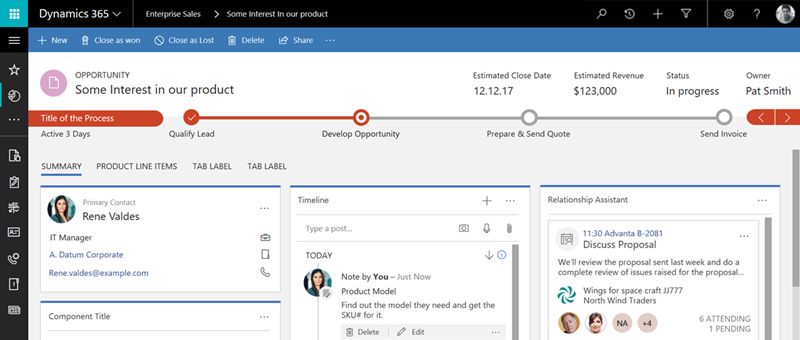 A typical CRM interface