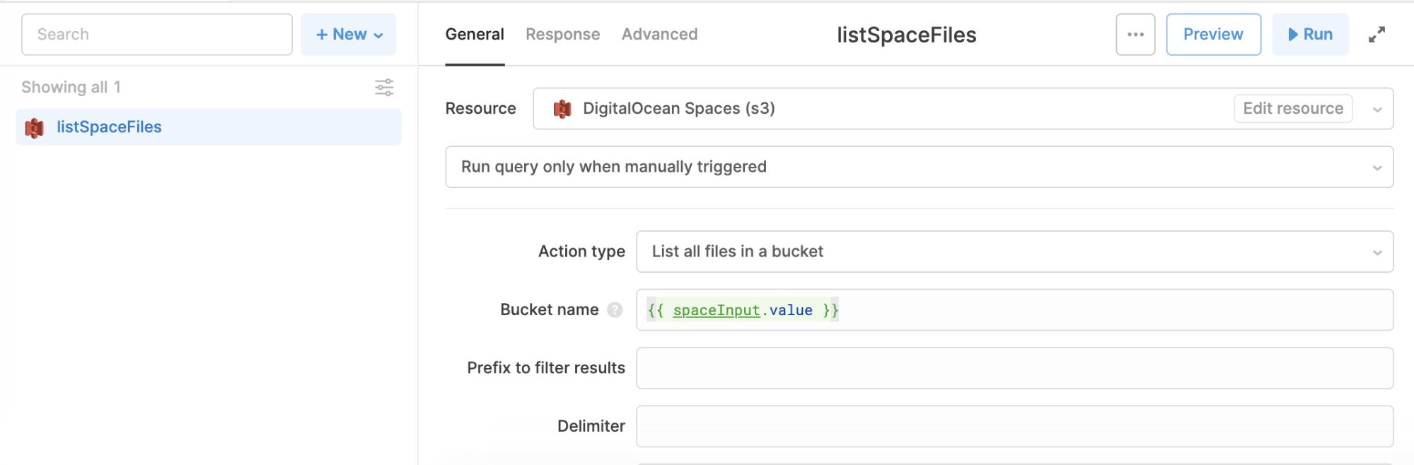 list space files query