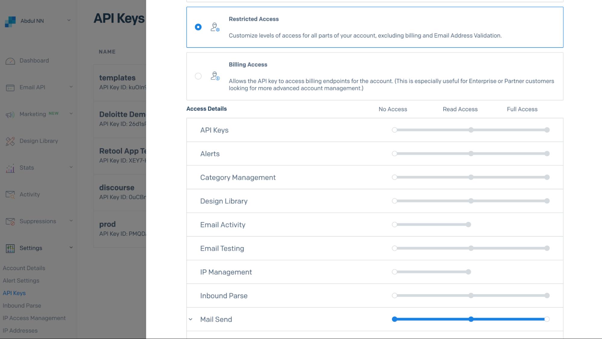 sendgrid permissions